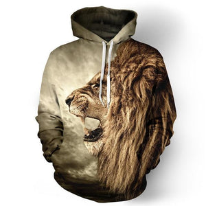 Mr.1991INC Autumn Winter Fashion Lion Ancient Digital Printing Men/Women Hooded Hoodies Capdresskily-dresskily