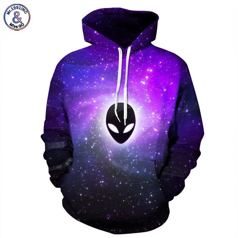 Mr.1991INC New Fashion Men/women Hooded Hoodies With Hat Print Extraterrestrial Autumn Winterdresskily-dresskily