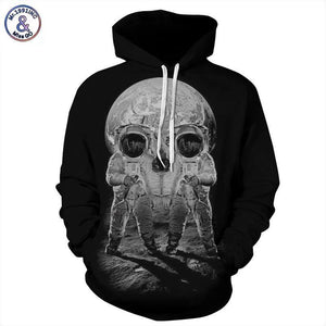 Mr.1991INC Autumn Winter Fashion Men/women Hoodies With Cap Print Astronaut Skull Coupledresskily-dresskily