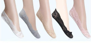 14pcs=7 pairs/lot Bamboo fiber Women's lace socks invisible Socks antiskid highdresskily-dresskily