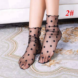 1Pair Fashion Sexy Breathable Silk Heap Heap Soft Elasticity Black Fishnet Lacedresskily-dresskily
