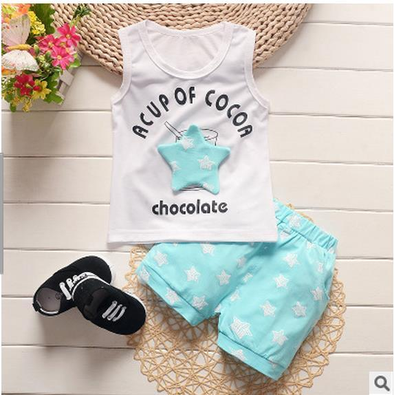 New 2017 fashion Baby Boys Clothes Sets Star Printed Summer Baby Clothingdresskily-dresskily