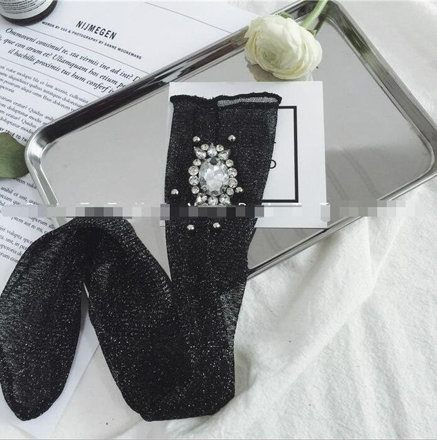 New Arrived Korean Style Fashion Glitter Socks Women Spring gem Flower Gemdresskily-dresskily