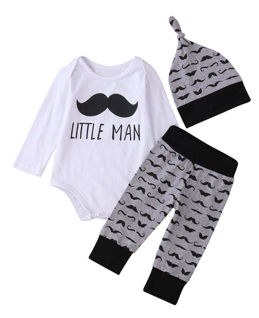 3Pcs Newborn Baby Boy Girl Clothes Sets Comfy Romper Tops Long Pantsdresskily-dresskily