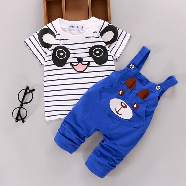 new arrived 2016 summer newborn striped t shirts+cartoon panda overalls 2pcs babydresskily-dresskily