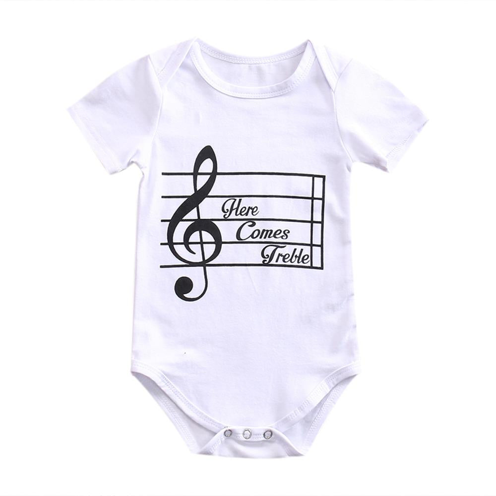 Toddler Infant Newborn Baby Girls Boys Bodysuit Short Sleeve Sunsuit Musical Printeddresskily-dresskily
