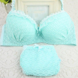 2 PCS Women Girl Cute Lace Bra Set Adjustable Strap Ruffle Push-Updresskily-dresskily