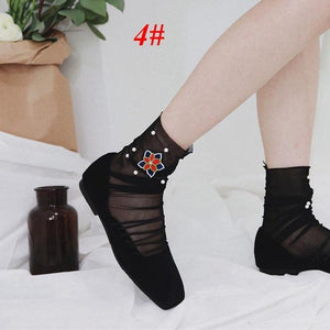 1Pair Fashion Summer Spring Women Girls Rose Heart Embroider Pearl Ruffle Meshdresskily-dresskily