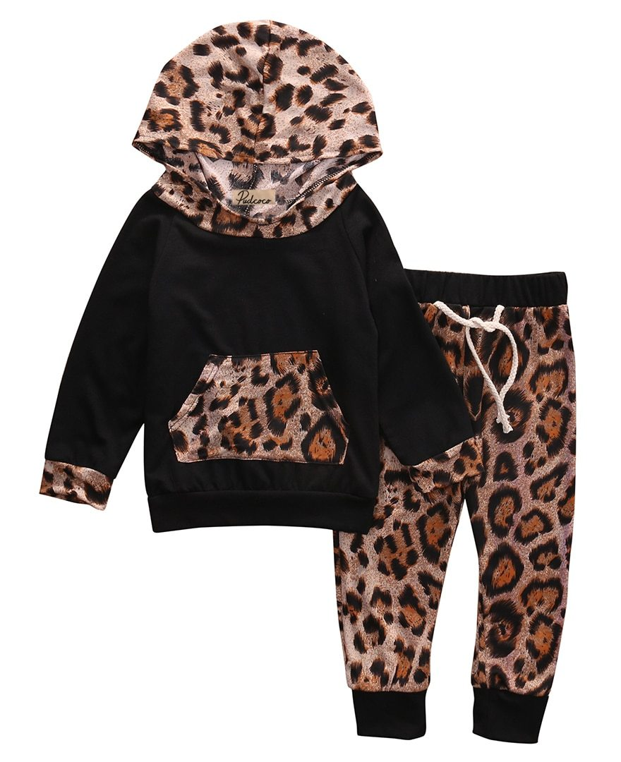 Fashion Newborn Baby Girl Boys 2pcs Outfit Leopard Print Hooded Long Sleevedresskily-dresskily