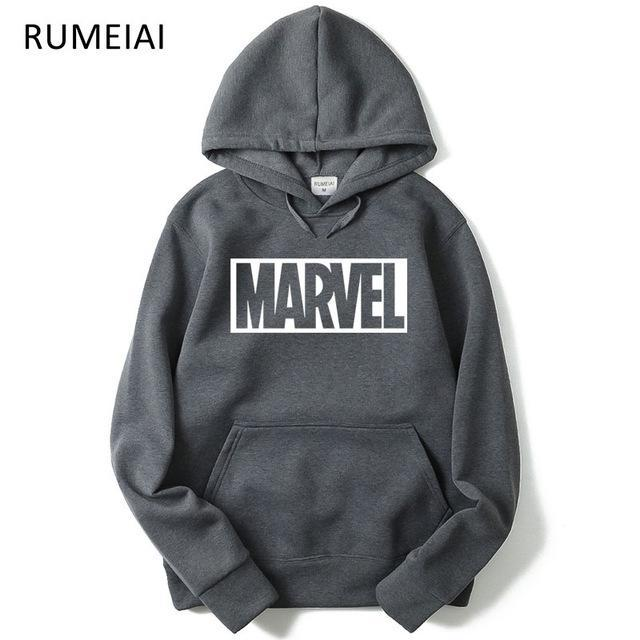 Brand 2017 New Women/Men's Casual Marvel Print Hedging Hooded Fleece Sweatshirtdresskily-dresskily