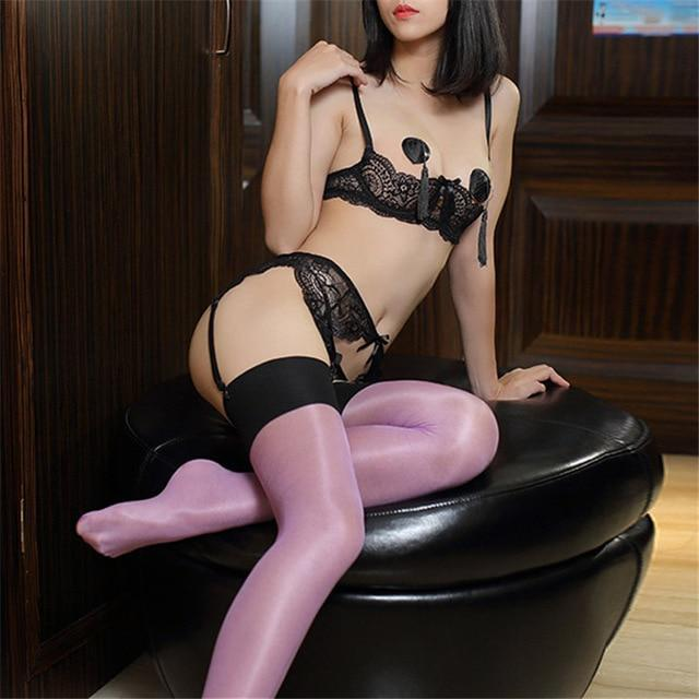 Sexy Thigh High Stockings Women Female Nylon Stockings Oil Shiny Pantyhose Multi-colordresskily-dresskily