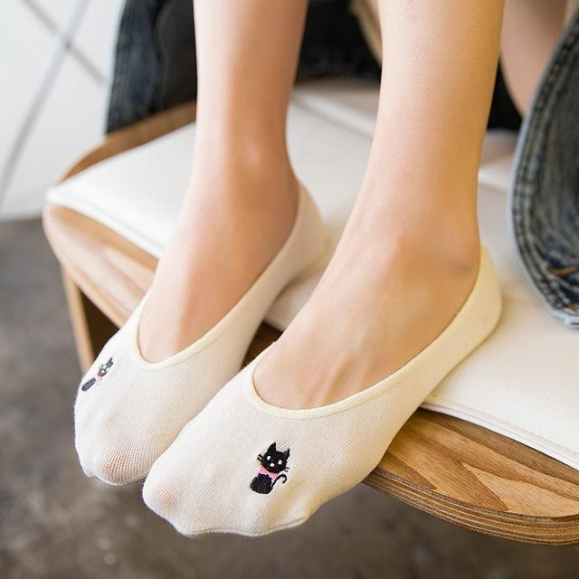 Womens Sock Slippers Embroidery Kitten Solid Color Hidden Flat Boat Line Cottondresskily-dresskily