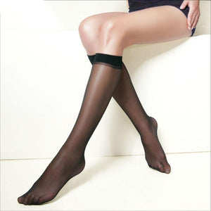 10 pairs/pack Hot Basal Silk Knee High Socks 20D/40D/70D Elastic Ultra-thin Transparentdresskily-dresskily