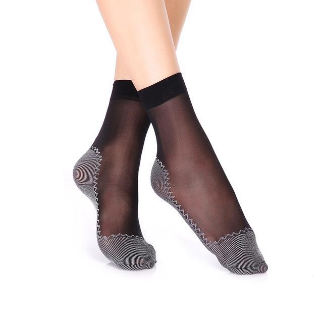 women sexy silk socks spring summer anti-slip cotton bottom nylon short socksdresskily-dresskily