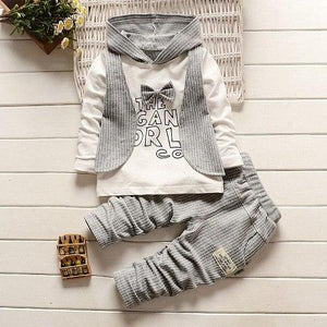 Spring Autumn Baby Boys Bowtie Pullover Hoodies Tops + Casual Striped Pantsdresskily-dresskily