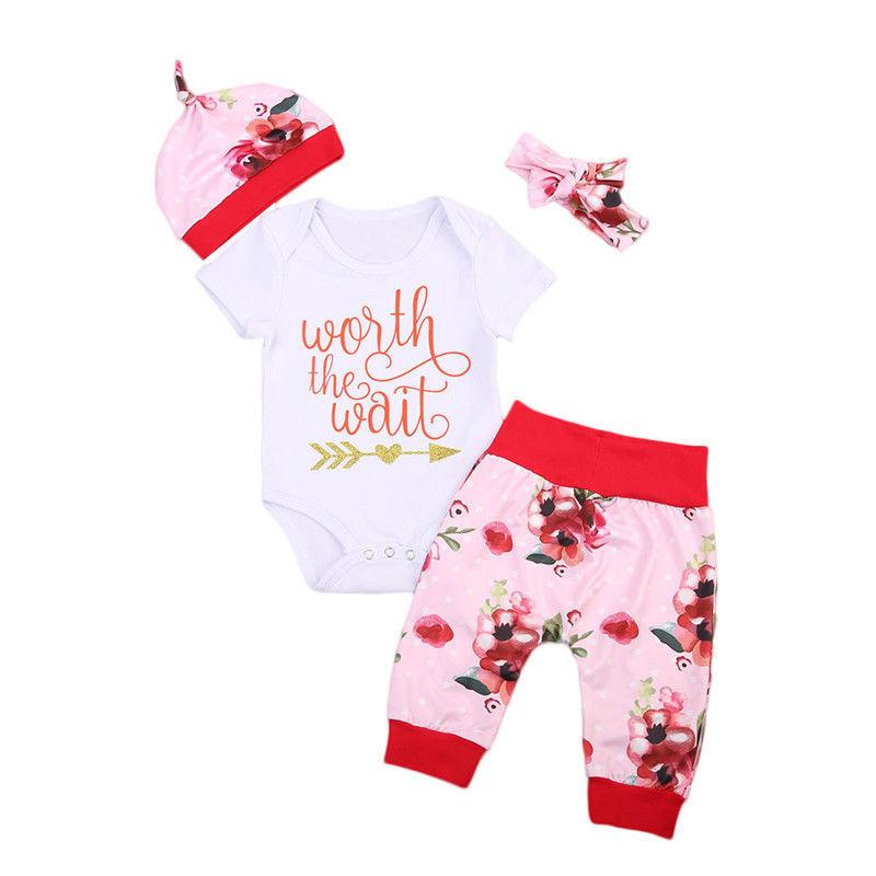 4PCS/Set Newborn Baby Clothing Set Worth The Wait Baby Bodysuit Romper+Floral Pant+Hatdresskily-dresskily