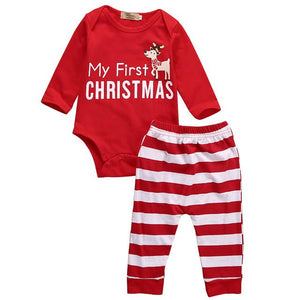 2PCS Newborn Baby Boy Girl Clothes Christmas Infant Bebes Long Sleeve Cottondresskily-dresskily