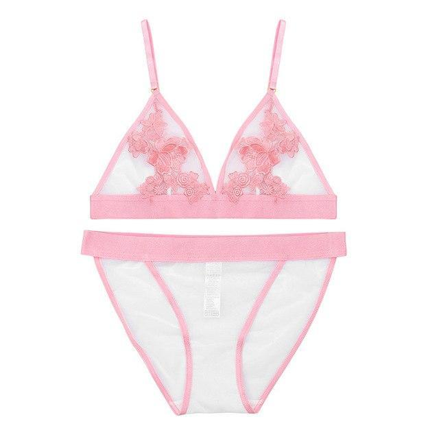 Women Bra & Brief Sets Embroidery Floral Transparent Lace Sexy Bra Setdresskily-dresskily