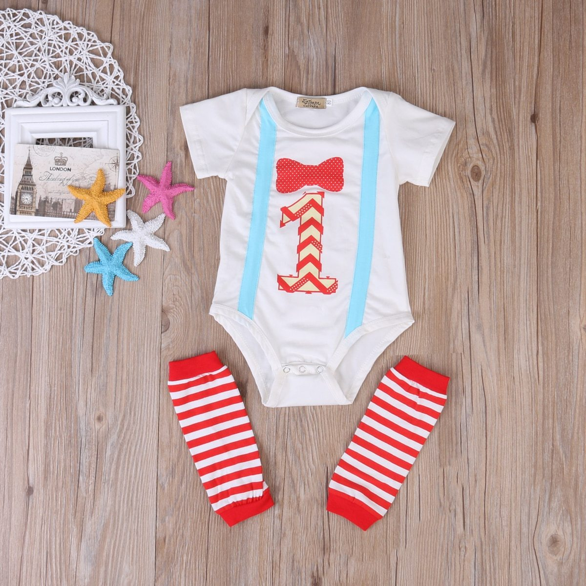 First Birthday Baby Boys Girl Cotton Romper Leg Warmer Bodysuit 2pcs Outfitsdresskily-dresskily