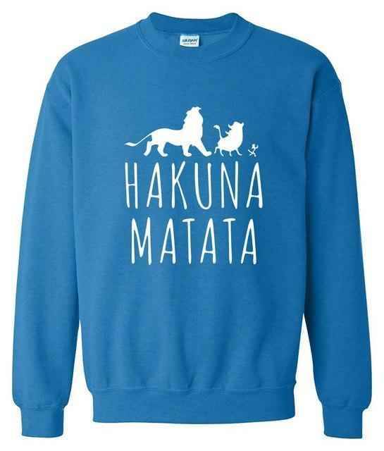 New arrival 2017 spring sweatshirt winter hoody fleece HAKUNA MATATA funny letterdresskily-dresskily