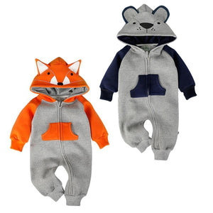 Cartoon Fox Bear Newborn Baby Romper Costume Baby Clothes Animal Overall Winterdresskily-dresskily