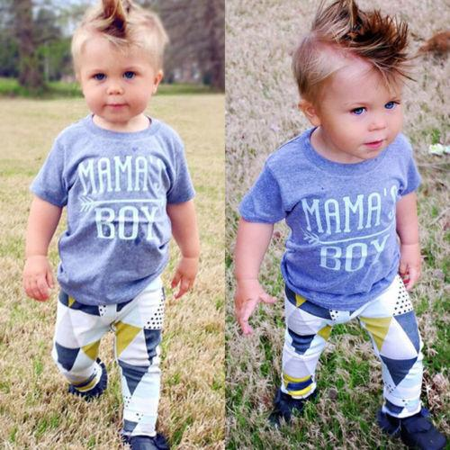 mama s boy Outfits fits Baby Boys Clothes T-shirt Long Pantsdresskily-dresskily