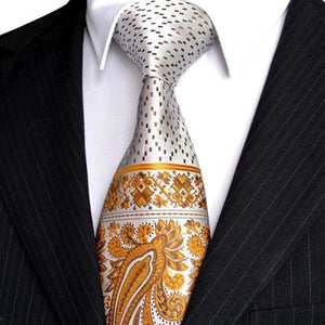 Multicolor Brown Gold Yellow Navy Blue Pink White Beige Floral Mens Tiesdresskily-dresskily