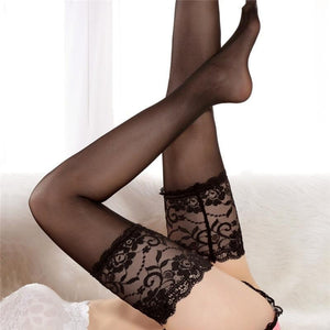 Sexy Lace Nylon Stockings Women Female Wide Sheer Thigh High Stockings Hotdresskily-dresskily