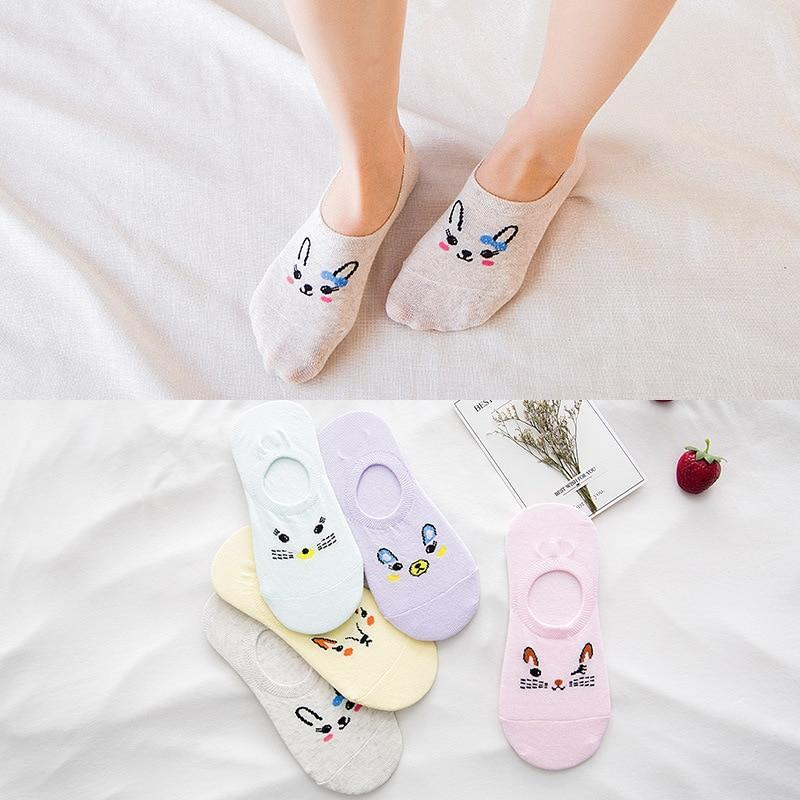 Japanese Spring Summer Small Animal Woman Invisible Socks Cotton Rabbit Fox Cartoondresskily-dresskily