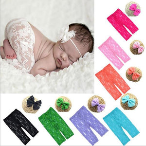 Lace Fashion Newborn Baby girl's bow tie Headbands + shorts set dresskily-dresskily