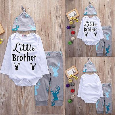 Fashion Baby Deer Clothing Newborn Baby Boys Little Brother Rompers Tops Longdresskily-dresskily