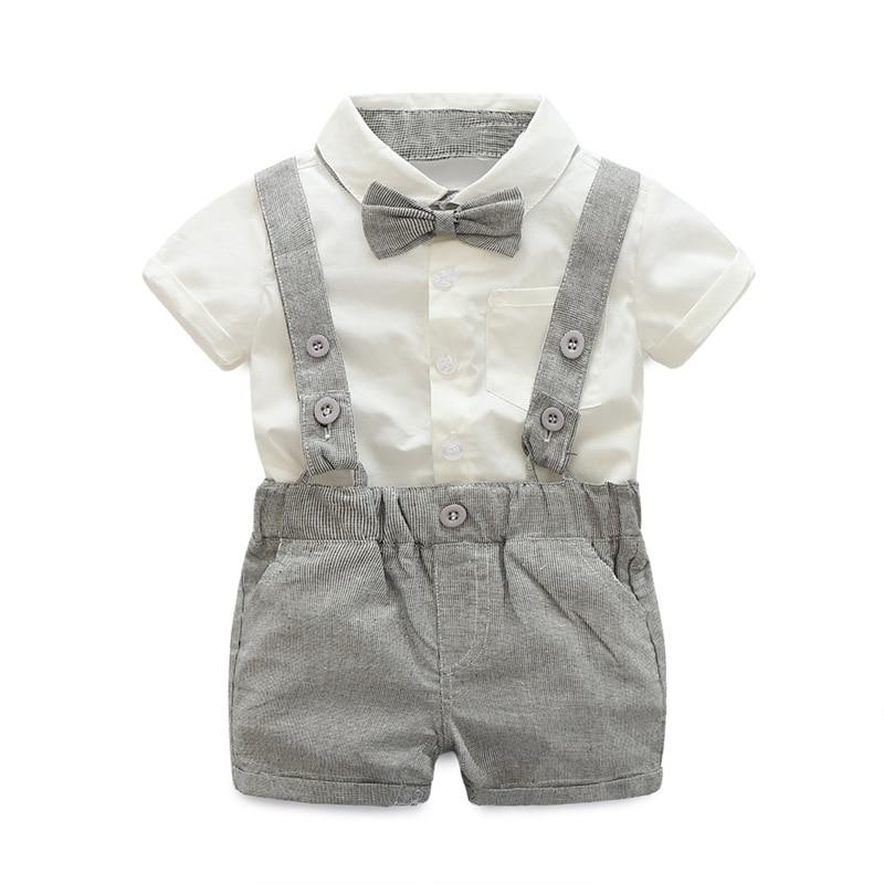 Summer Baby Boys Clothes Sets Bowtie White Shirts+Bib Shorts Overalls 2pcs/set Handsomedresskily-dresskily