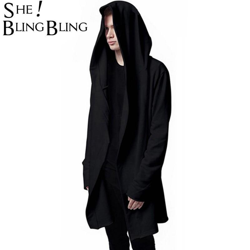 Men Hooded Jacket Black Gown Best Quality Hip Hop Mantle Hoodie Sweatshirtsdresskily-dresskily