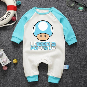 Super Mario Mushroom Print Baby Romper Cute Baby Cotton Clothes Spring Autumndresskily-dresskily