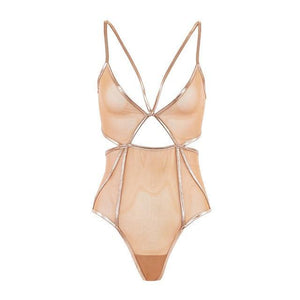 Missomo Solid Bodysuits Women Beige Back Closure Sheer Side Hollow Out 3/4dresskily-dresskily