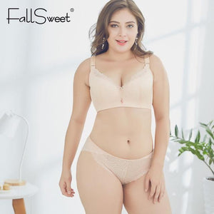 FallSweet D E Cup Push Up Bra Set Plus Size Women Lacedresskily-dresskily