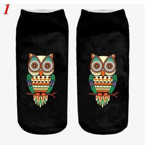 1Pair Unisex Women Socks 3D Print Cute Owl Casual Low Cut Ankledresskily-dresskily