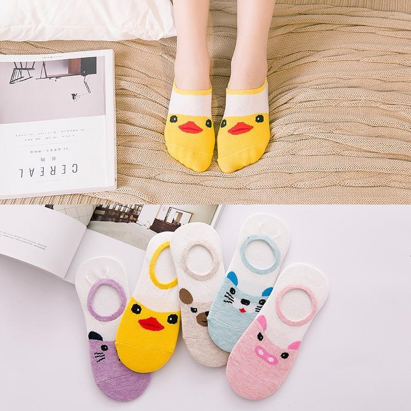 Summer Cartoon Boat Socks Cotton Small Yellow Duck Woman Sock Invisible girldresskily-dresskily
