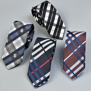 2017 New Luxury Jacquard Plaid Necktie Slim Ties For Men Wedding Skinnydresskily-dresskily