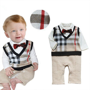 Retail 2017 100% Cotton Baby Boy Roupas Infant Critical Gentleman Bow Longdresskily-dresskily