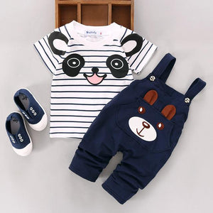 2pcs Cartoon 3D Animal Toddler Baby Infant Boys Girls Outfits T-shirt Top+dresskily-dresskily