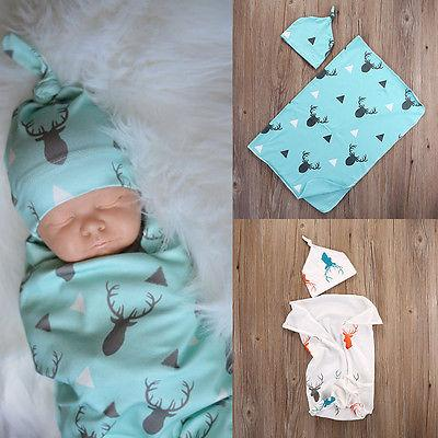 Toddler Newborn Baby Boy Girl Deer Soft Stretch Wrap Swaddle Blanket Bathdresskily-dresskily