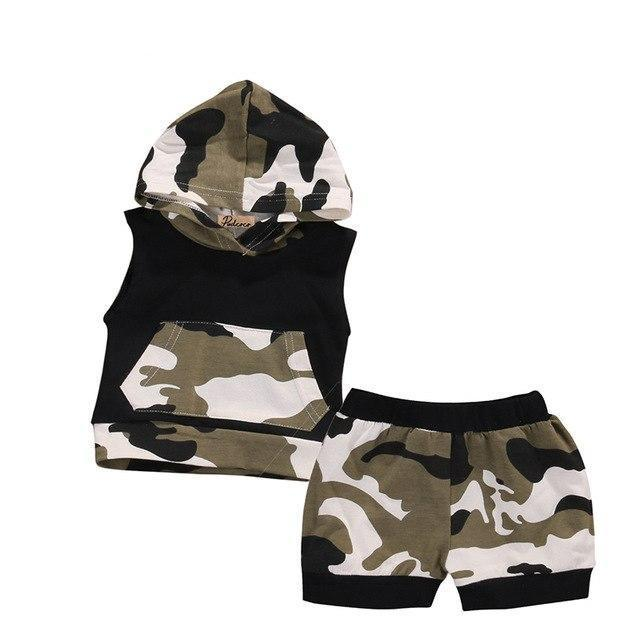 Brand Pudcoco Infant Baby Boy Girl Clothes Summer Cotton Camouflage Sleeveless Hoodeddresskily-dresskily