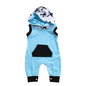 0-24M Newborn Baby Boy Girl Clothing Cross Print Pocket Sleeveless Hooded Romperdresskily-dresskily