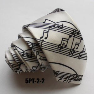 New Design 5cm Skinny Ties White with Black Classic Musical Notes Necktiedresskily-dresskily