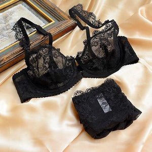 Vogue Secret New sexy lace bra briefs set ultra thin embroidery womandresskily-dresskily