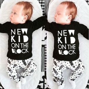 Newborn Baby Boys Girl Clothes Sets Cotton Tops T-shirt Pants Outfits Clothesdresskily-dresskily