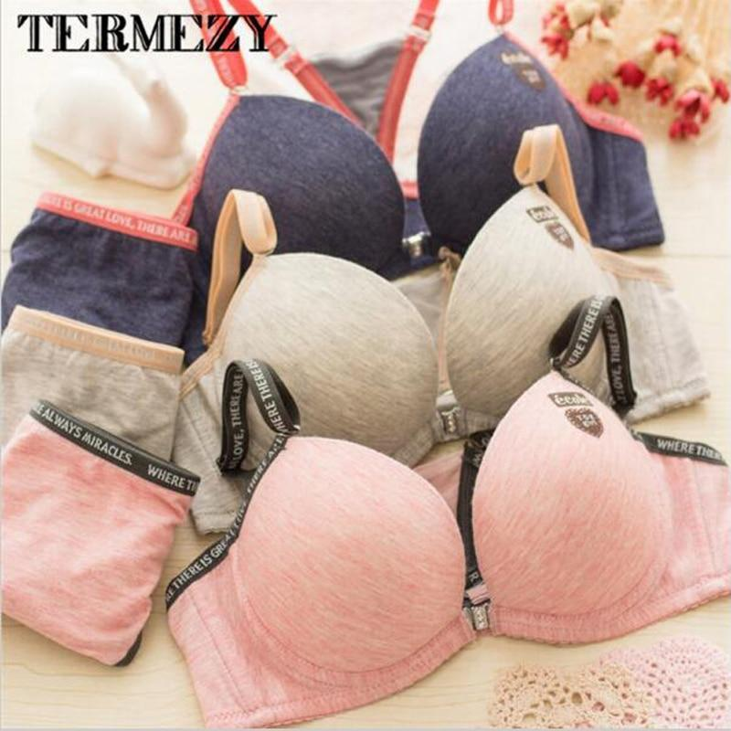 Fashion Cotton sexy Front Closure deep v bra Sets Seamless Push updresskily-dresskily