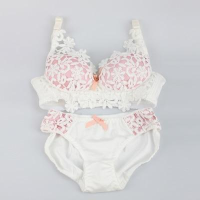 Fashion 2017 Embroidery Underwear Women Flower Lace Bra Set Wireless Pushdresskily-dresskily