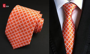 Plaid Ties Men's Fashion Tie 8cm Blue Necktie Green & Orangedresskily-dresskily